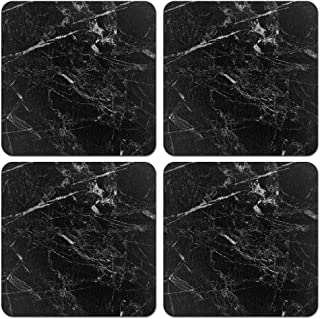 CARIBOU Coasters CB-SQNC-SBCST0002-4-A3253, Cloudy Black Marble Design Absorbent Square Fabric Felt Neoprene Coasters for ...