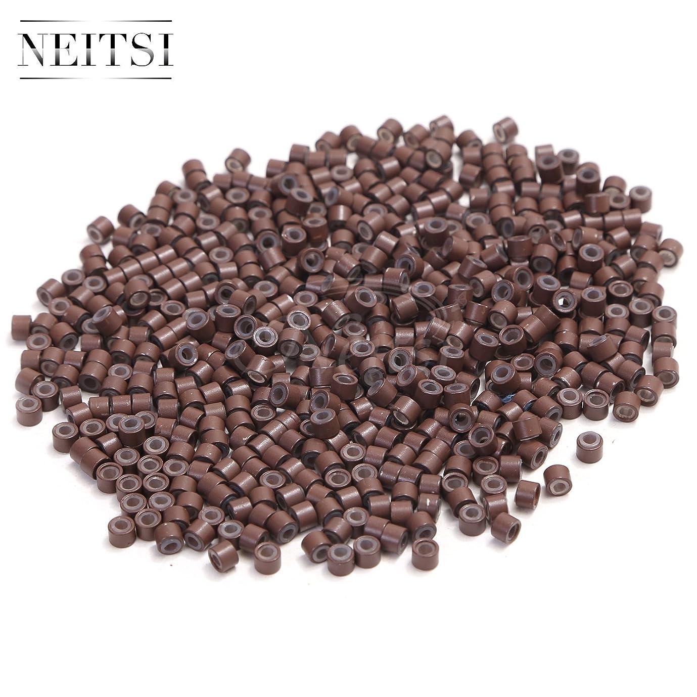 楕円形寝る中間Neitsi(ネイティス)エクステ用シリコーンビーズ スクリューチップ エクステ用チップ ウィッグ用マイクロリング 輪 エクステツール シリコーン リング 直径約4mm 5色選択 500粒 (brown)