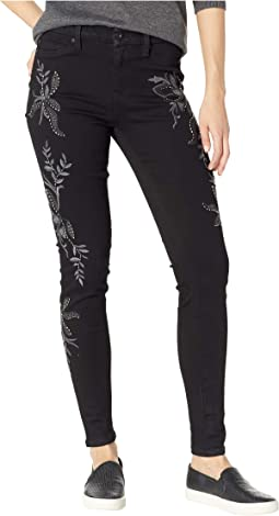 Kayden Skinny Basket Weave Floral Embroidery in Black Rinse
