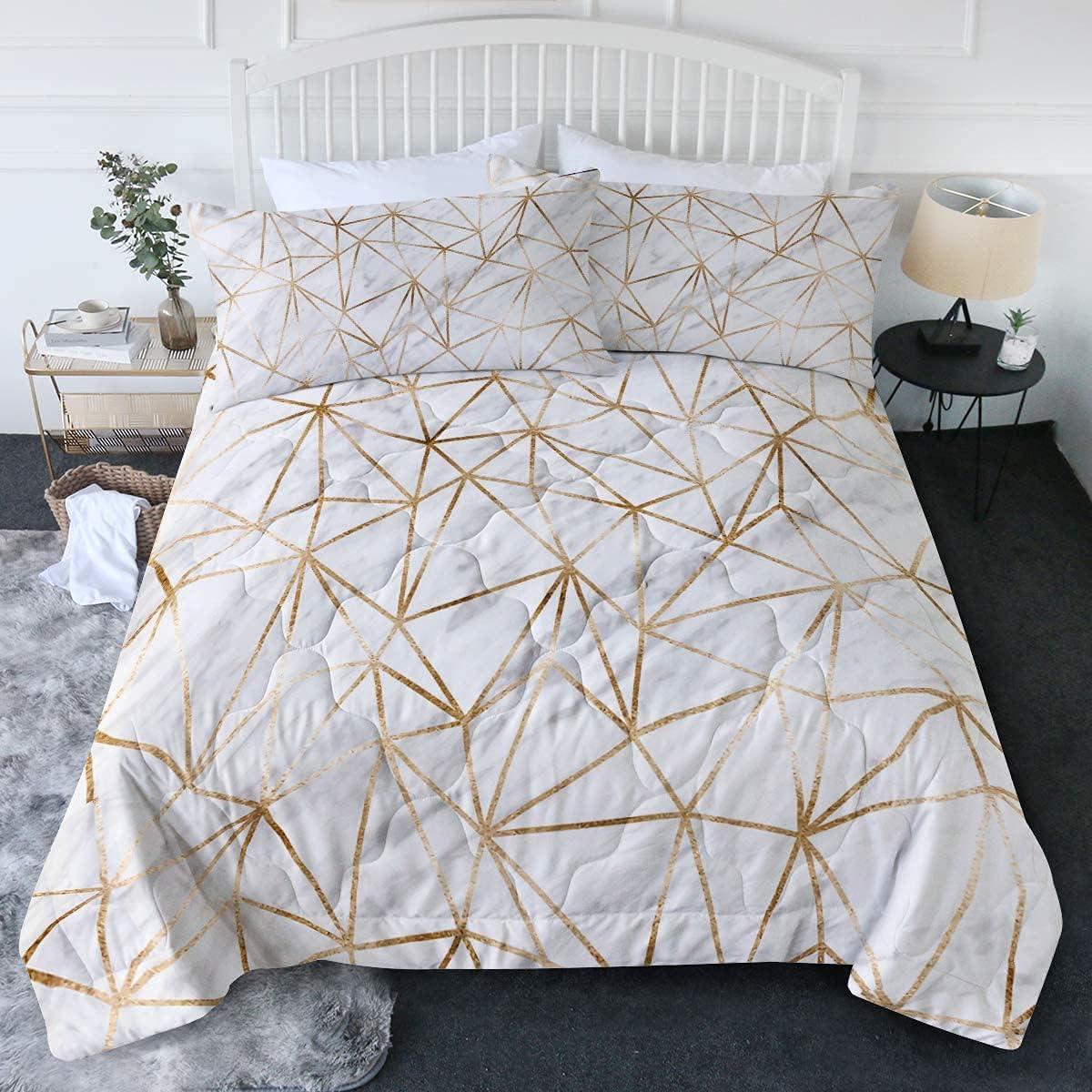 Houston Mall BlessLiving 3D Marble Gold Comforter with Shams Pillow 2 Sale price White M