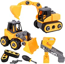 Meland Construction Take Apart Trucks – 3 in 1 Assembly Construction Cars Toy Bulldozer, Excavator & Lift Play Set STEM Educational Gift for Toddlers Boys (Aged 3-10 Years Old)