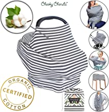 ☆ Organic Cotton ☆ 6-in-1 Carseat Canopy & Nursing Cover, Ultra Soft & Stretchy Breastfeeding, Car Seat & Stroller, Shopping Cart Covers, Perfect Gift for Mom (Dark Grey & White)