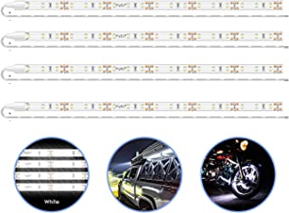 PryEU Daylight White 6000K LED Strip Lights 12V Waterproof for Auto Car Truck Boat Motorcycle Interior Lighting 12'' 30CM 3528 SMD UL Listed Pack of 4