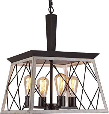 Q&S Farmhouse Vintage Chandelier, Rustic Pendant Light,Industrial Hanging Light Fixture for Dining Room Kitchen Island,Wrough