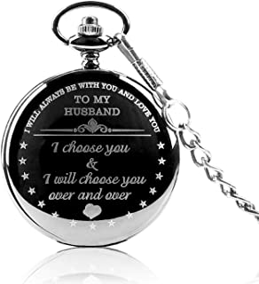 Anniversary Gifts for Men, Engraved to My Husband Pocket Watch from Wife Gift,Husband Gifts from Wife Pocket Watches, Best Birthday Gifts for Him,Father Day Gifts