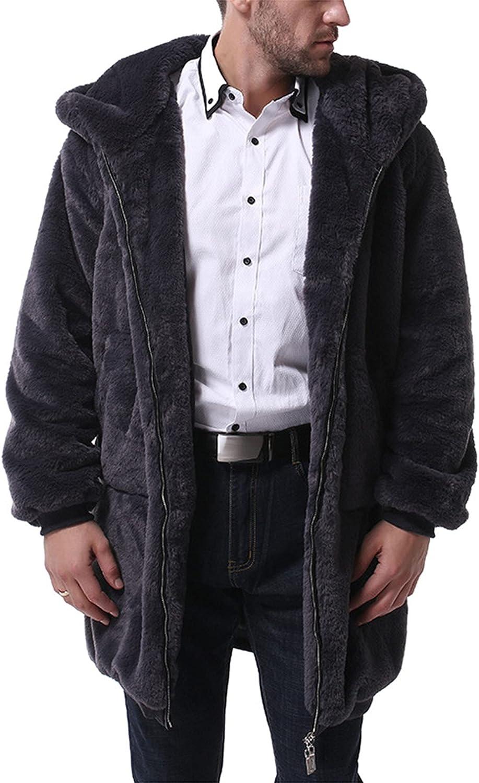 Men's Fuzzy Shearling Teddy Bear Jacket Hoodie Fluffy Warm Winter Stand Collar Zip Up Long Sleeve Coat