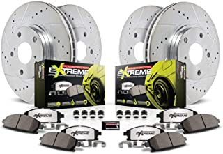 Power Stop K1365-26 Front and Rear Z26 Carbon Fiber Brake Pads with Drilled & Slotted Brake Rotors Kit
