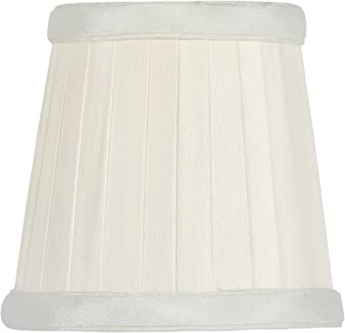Upgradelights Eggshell Silk Pleated 3.5 Inch Mini Drum Clip on Chandelier Lamp Shade 2.5x3.5x3.5
