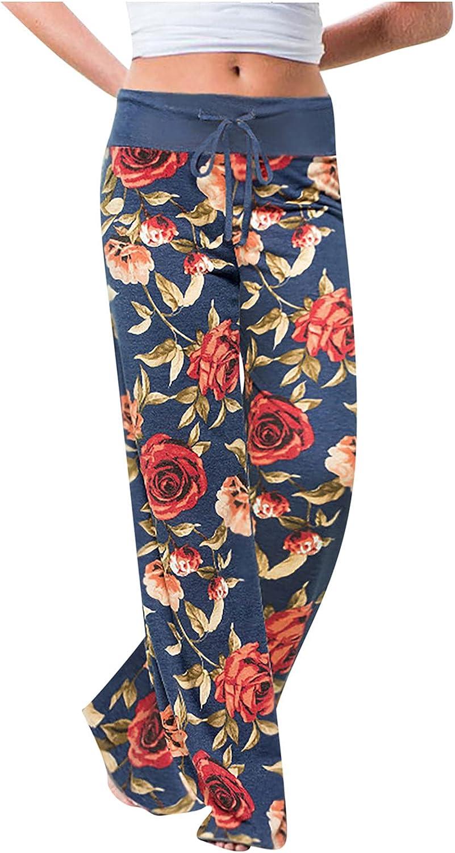 MIVAMIYA Yoga Pants with Pockets for Women Floral Print Comfy Palazzo Pants Elastic Waist Wide Leg Pajamas Casual Trousers