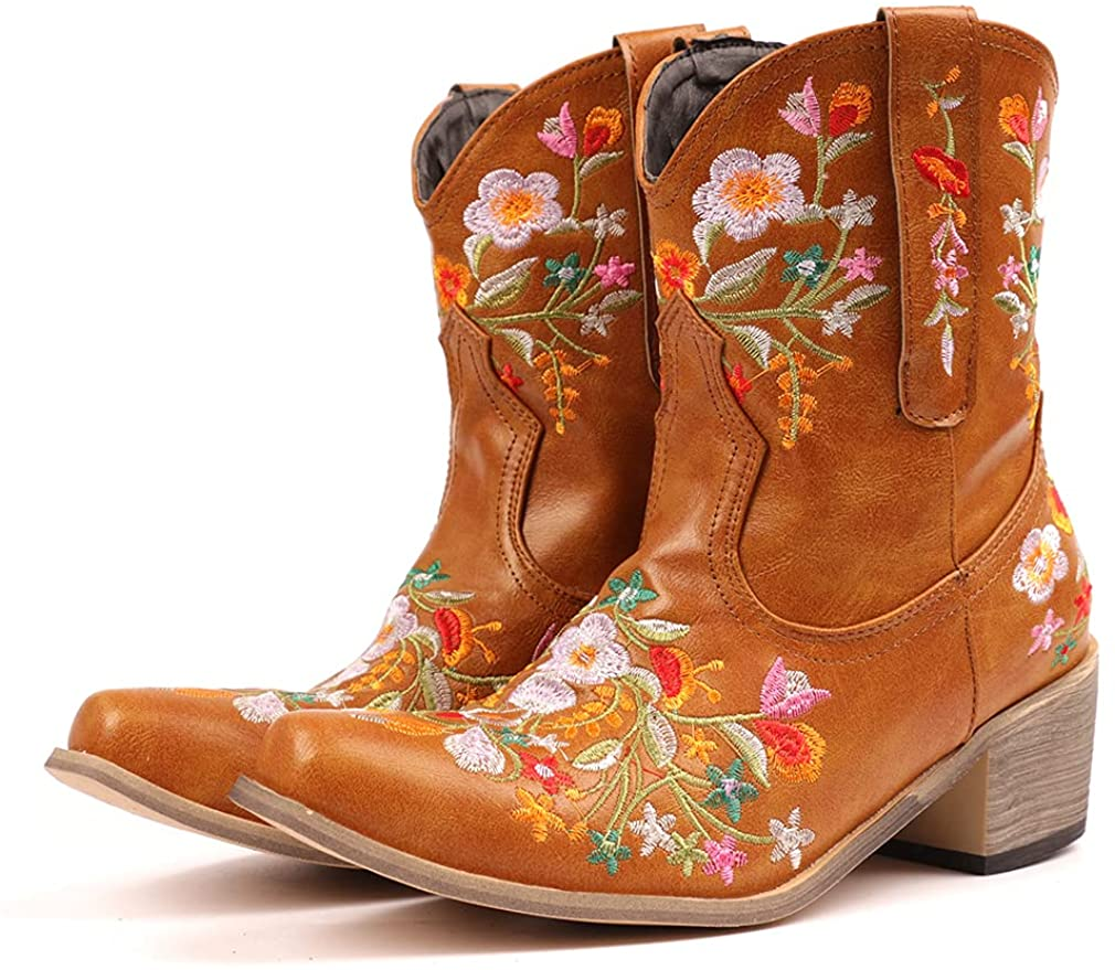 heelchic Women Vintage Flower Embroidered Retro San Diego Mall Sh Boots Cowgirl Time sale