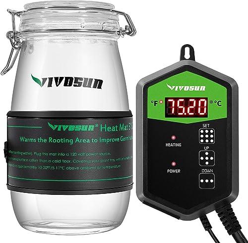 "discount VIVOSUN high quality 3"" x 20"" Seedling Heat Mat and Digital Thermostat Combo popular Set online sale"