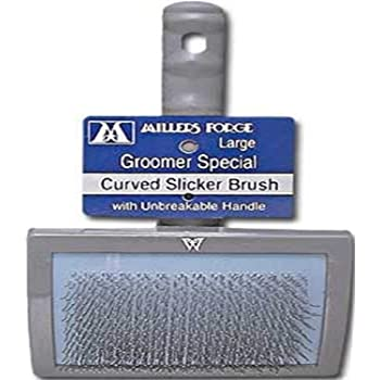 Millers Forge Stainless Steel Pins Universal Curved Pet Slicker Brush with Plastic Handle, Large