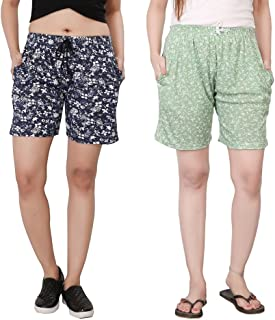 Bfly Women's Printed Cotton Hosiery Shorts-Pack of 2 (WSHORTSCOMBO-3-19)