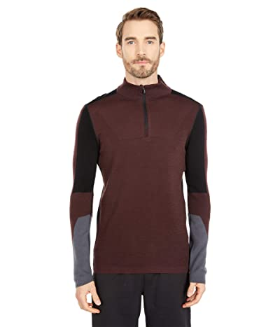 Smartwool Intraknit Merino 250 Thermal Color-Block 1/4 Zip (Woodsmoke) Men