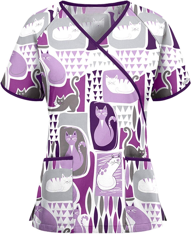Zainafacai Women's Retro Print T-Shirts Workwear Professional V-Neck Tops Short Sleeve Working Uniform with 2 Pockets