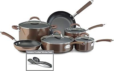 Farberware Millennium Nonstick Cookware Pots and Pans Set, 12 Piece, Bronze