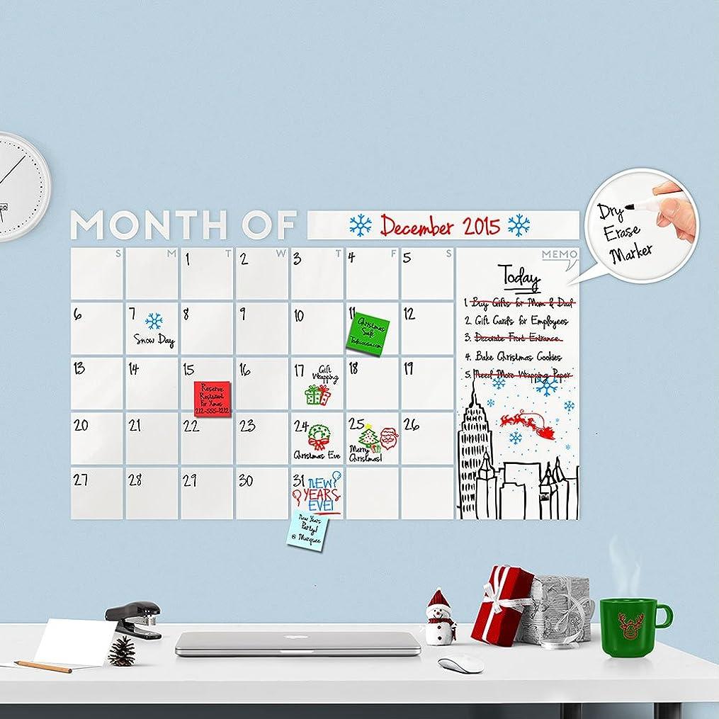 衛星サイクル振るHuge 2017モダンMonthly Dry Erase Wall Decal Calendar withメモ型W/Dry Eraseマーカー?–?A Todeco製品