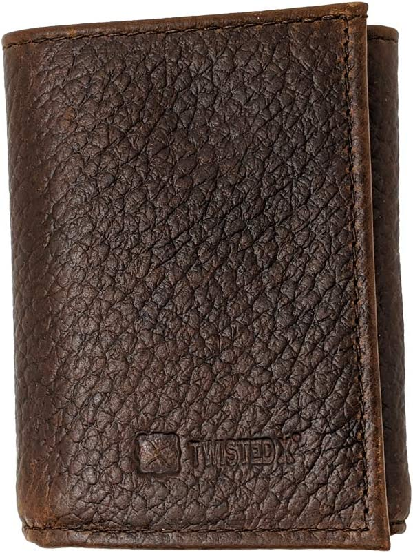 Twisted X Trifold Pebbled Brown Men's Leather Wallet