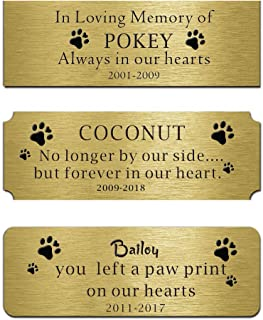 """Customizable Plaque Nameplate Brass Plates Personalized Label Engraved Memorial Name Tag Flag Case Shadow Boxes Pets Name 3""""W x 1""""H (Forever in Our Heart)"""