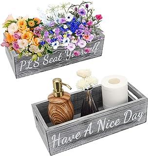 Shinowa Boîte de Rangement en Bois, Organisateur de Toilettes avec Poignée Décoratif Porte-Rouleaux de Papier-Toilette Con...