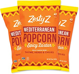 Zesty Z Spicy Mediterranean Popcorn Snack: Chilies, Savory Herbs Seasoning – Air Popped | Non GMO | Gluten-Free | Kosher | Low Calorie Snack (47 Cal/Cup), 5oz Bag, 3 Pack
