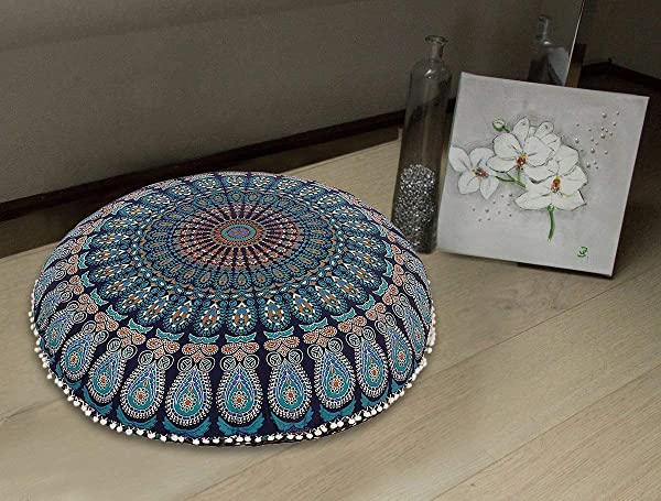 MY DREAM CARTS 32 Mandala Floor Pillow Cushion Meditation Seating Ottoman Throw Cover Hippie Decorative Round Bohemian Pouf Pom Blue