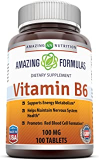 Amazing Nutrition Vitamin B6 Dietary Supplement – 100 mg, 100 Tablets (Non-GMO,Gluten Free) – Supports Healthy Nervous Sys...