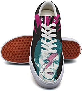 KK ldfd David-Bowie-Ziggy-Stardust- Fashion Sneaker Loafers for Women Canvas Upper Skate Shoes Slip-on Cut Low Top Lace up Flat Casual
