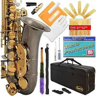 Lazarro 360-BN E-Flat Eb Alto Saxophone Black Nickel-Gold Keys with Case, 11 Reeds, Care Kit and Many Extras