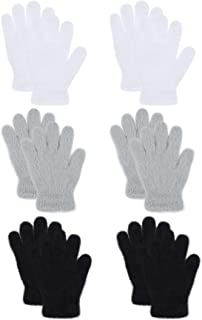 Sponsored Ad - TODDOR 6 Pairs Children Warm Plush Gloves Knit Stretchy Magic Gloves Full Finger Mittens for Boys or Girls