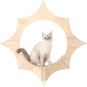 MYZOO Solar, Sun Shape, Wall Mounted Cat Shelves, Floating Perch, Cat Tree,Solid Wood