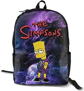 Lightweight Teenager Unisex Bart Simp-son Logo Backpack/school Bag Black One Size