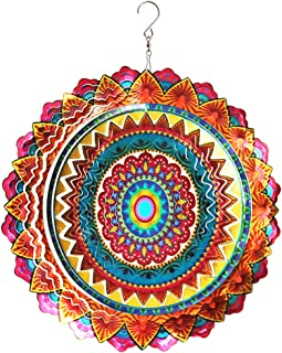 FONMY Stainless Steel Wind Spinner Christmas Decorations Indoor Outdoor Garden Decoration Crafts Ornaments 12 inch Multi Color Mandala Wind Spinners