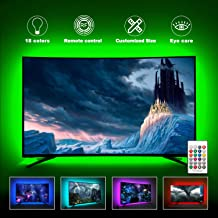 LED TV Backlights Kit Behind 75/80/82/85 Inch HDTV Bias Lighting, Work Space Décor, Home Theater Lighting, Smart USB LED TV Light Strip with RF Remote, 20 Colors, Dimmable