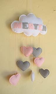 Móvil bebé nube fieltro corazon gris rosa regalo nombre