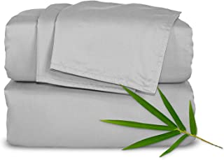 Pure Bamboo Sheets Queen 4pc Bed Sheet Set - 100% Bamboo Luxuriously Soft Bed Sheets (Queen, Silver Pearl)