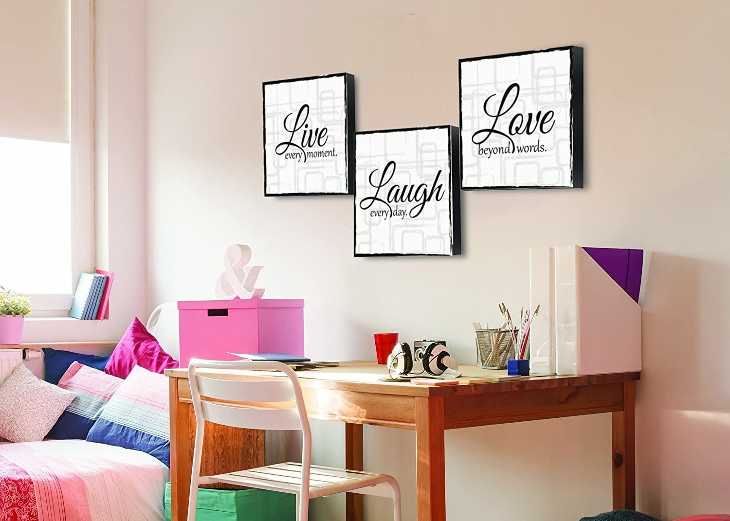 Amazon Com Live Laugh Love 3 Piece Canvas Print Wall Art Art 12 X12 X 3 Panels White And Black Posters Prints