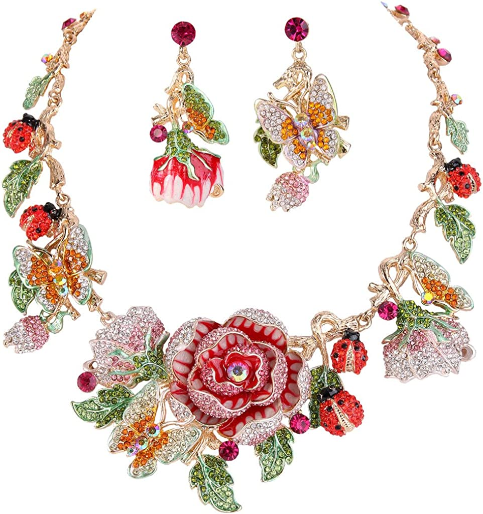 EVER FAITH Crystal Enamel Flower Cluster Butterfly Ladybug Insect Necklace Earrings Set Gold-Tone