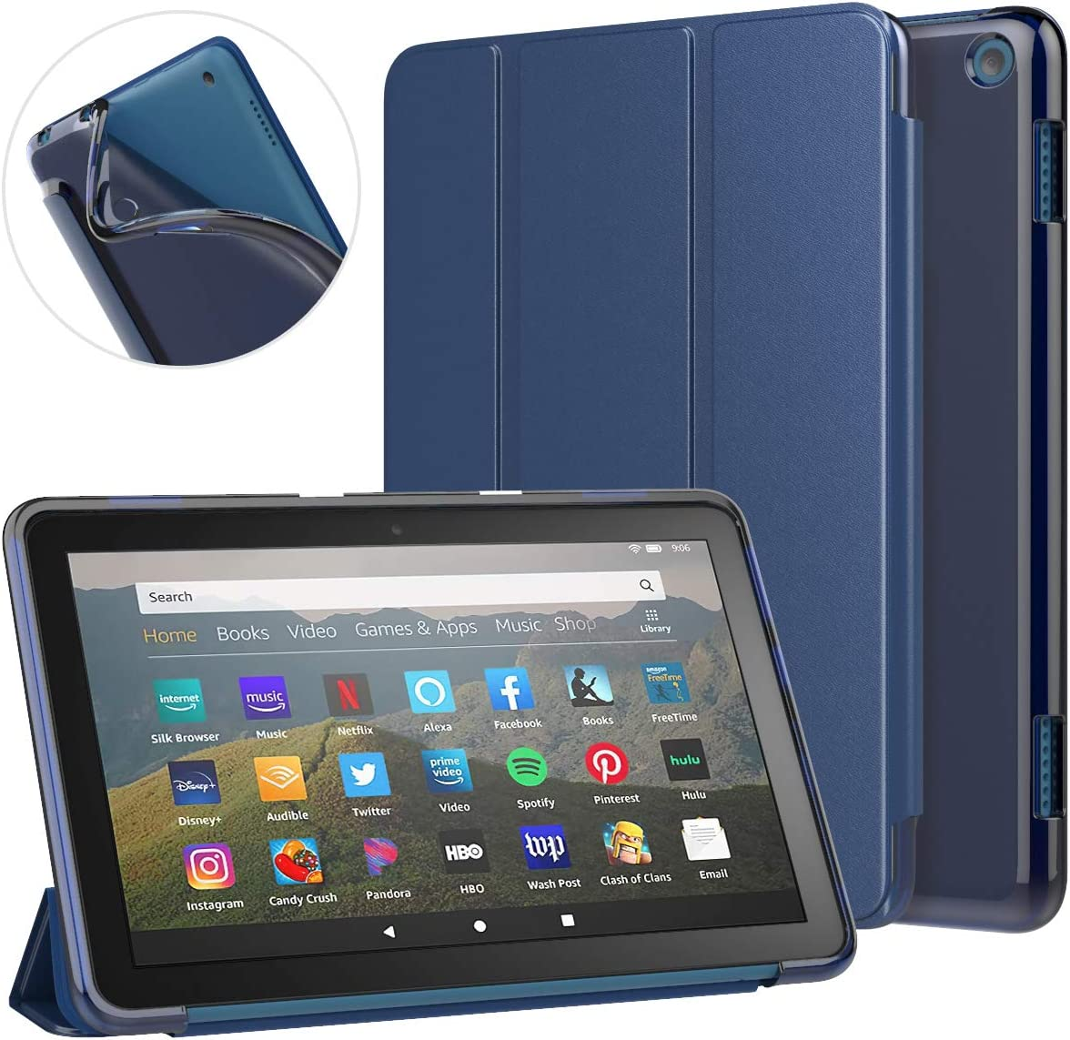 MoKo Case Fit All-New Kindle Fire HD 8 Tablet and Fire HD 8 Plus Tablet (10th Generation, 2020 Release) Case, Soft TPU Translucent Frosted Back Cover Slim Smart Shell, Auto Wake/Sleep - Indigo