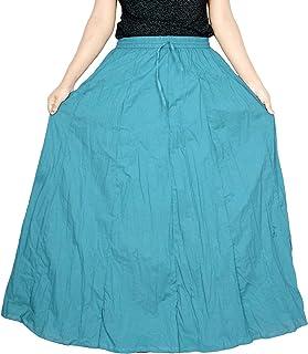 Sttoffa Women's White Skirt 42 inch Length Cotton Long Skirt
