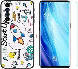 FZZ Case for Oppo Reno 4 Pro + Screen Protector Tempered Glass Protective Film,Soft Silicone Black Shell Gel Flexible TPU ...