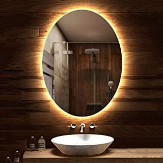 70x90cm Oval Backlit Bathroom Mirror Easy to Install Illuminated LED Hanging Vanity Makeup Mirror Shaving Mirror for Hotel Bedroom Living Room (Color : Warm Light, Size : 600x800mm)