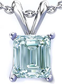 RINGJEWEL 1.40 ct VVS1 Silver Plated Emerald Solitaire Real Moissanite Ice Blue White Pendant