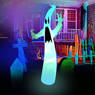 BESTPARTY 12ft Halloween Inflatable Scary Ghost Decorations For Party Yard Lawn Garden Outdoor Indoor with LED