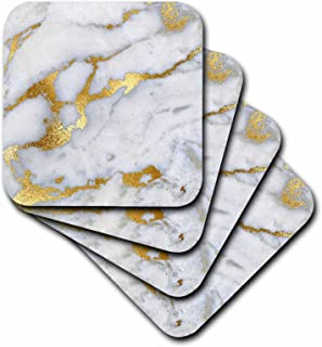 3dRose cst_268835_1 Image of Luxury Grey Gold Gem Stone Marble Glitter Metallic Faux Print, set of 4 Soft Coasters