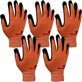 3M Comfortable Grip Nitrile Foam Coated Gardening Work Gloves(5pk) (Large, Orange)