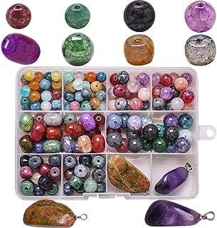WEDFTGF - 10 perline in vetro con pietra irregolare, per creare gioielli fai da te, collane, braccialetti