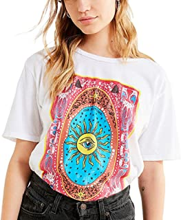 Tie Dye Eyes Sunflower Graphic T Shirts Women White Vintage Retro Aesthetic Cute Tee Tops Oversized