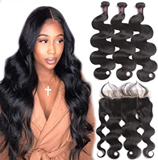 10A Body Wave Bundles with Frontal Human Hair Bundles with Lace Frontal (26 28 30+20, Natural Black) Resaca Peruvian Body Wave Hair Virgin Hair Ear to Ear 13x4 Frontal Closure with 3 Bundles