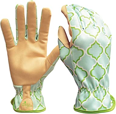 Digz Planter Pro Women's Gardening Gloves and Work Gloves with Touch Screen Compatible Fingertips, Geometric Pattern, Med
